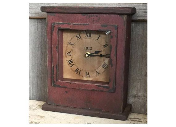 Primitive Mantel Clock by VintageWoodcrafts on Etsy