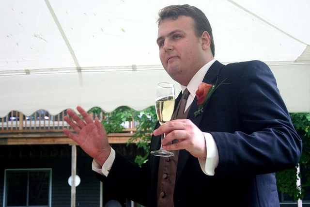 "Best Man Wedding Toast - The best man usually proposes a toast in the form of best wishes to the newlyweds. A best man's toast takes the form of a short speech (3–5 minutes) that combines a mixture of humor and sincerity. The actual ""toast"" is then delivered at the end of the speech and is a short phrase wishing the newlyweds a happy, healthy, loving life together."
