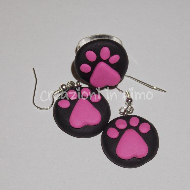 Orecchini e anello #zampe gattino