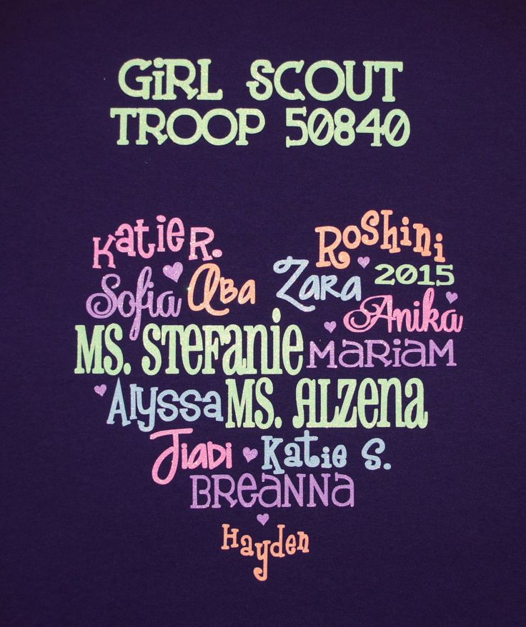 Girl Scout Troop T-shirt! Customize with the names of the girls in your troop! by GlitterMomz on Etsy