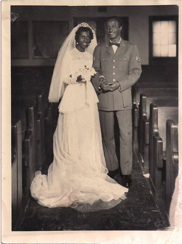 Vintage African American Photo Wedding Picture Bride Groom Military Man | eBay