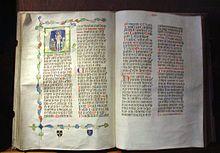 Pontifical (Liber Pontificalis) d'Albert de Sternberg, 1376. Exposé au monastère de Strahov.