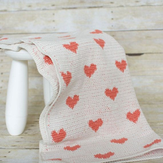 I Heart You Baby Blanket by purlandcompany on Etsy, $120.00 - Adorable