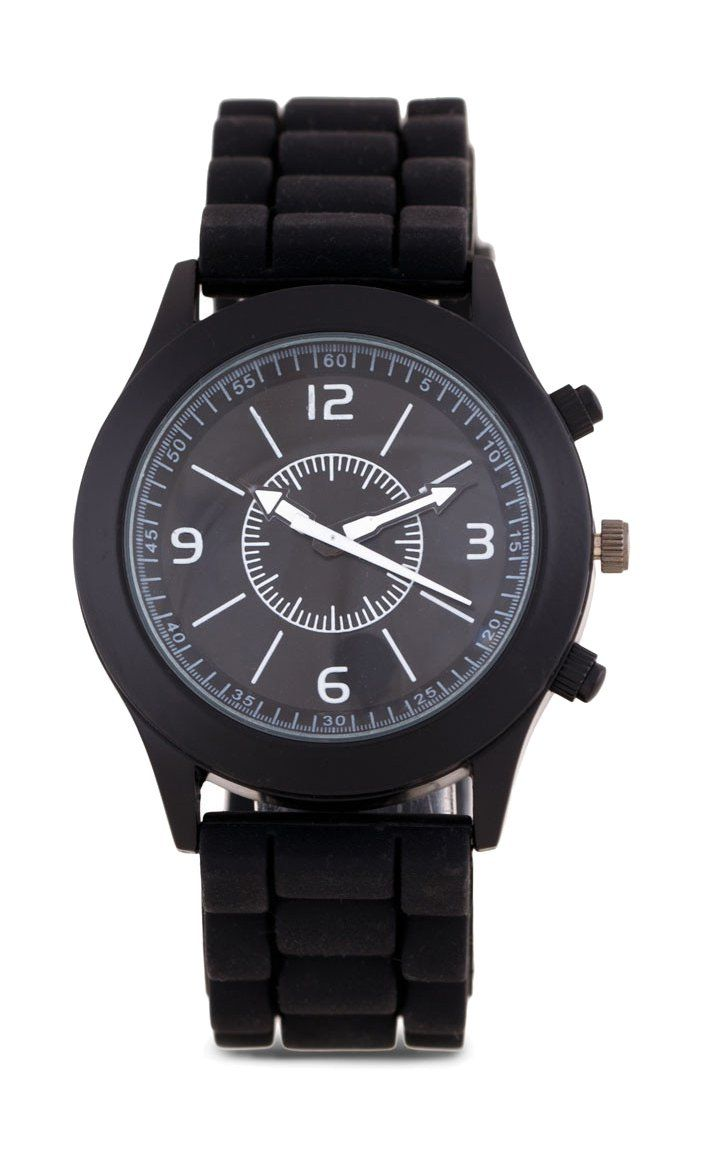 Colored Rubber Watch by Something Borrowed. Black watch with a round case and strap a made of rubber strap, simple watch that will suit your outfit, this black watch sure look so simple but cool, perfect for everyday accessories.   http://www.zocko.com/z/JH0yU