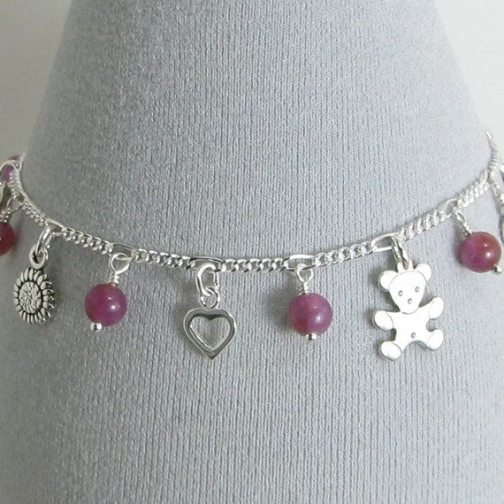Ruby and Sterling Silver Sentimental Charm by BlueSpruceCrafts