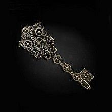 Steampunk sleutel haarclip met tandwielen detail antiek goudkleurig - Gothic Metal