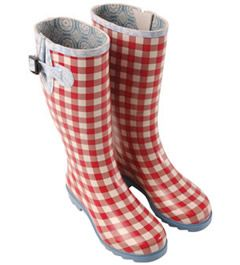 red gingham rain boots; Cozy Canadian Cottage