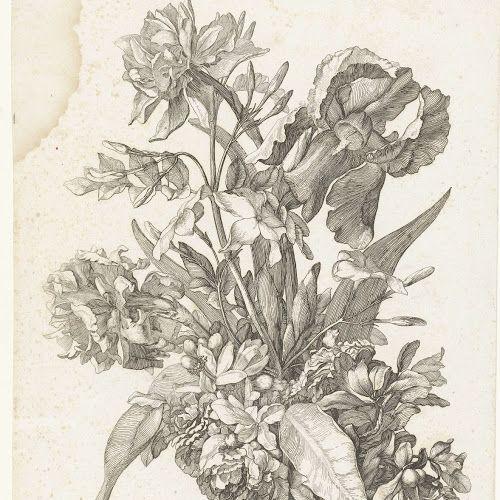 Boeket met een narcis, sinasappelbloesem of jasmijn en een iris, Jacques Bailly (I), c. 1670 - Rijksmuseum