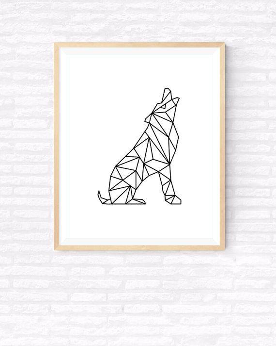 Geometrische Wolf Origami kunst afdrukbare door GabrielPrintables