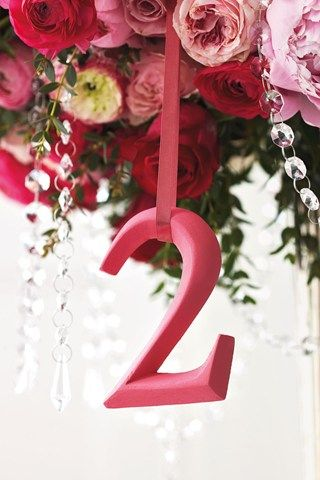 hanging table numbers from centerpiece...hmmm. I like this but not sure what I would hang it from... Megan any ideas??