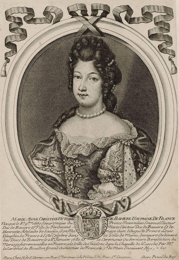 """33- Drawing of Marie Anne Victoire of Bavaria, Dauphine of France.- § MARIE ANNE DE BAVIERE: Elle en était si persuadée qu'en donnant sa dernière bénédiction à ses enfants, peu avant de rendre l'âme, elle soupira, en embrassant le petit duc de Berry âgé de 3 ans, le vers d'Andromaque de Racine: """"Ah! mon fils, que tes jours coûtent à ta mère!"""". Il est vrai que l'abcès au bas ventre qui sembla être la cause immédiate de son trépas pouvait amener à faire le lien avec son dernier accouchement."""