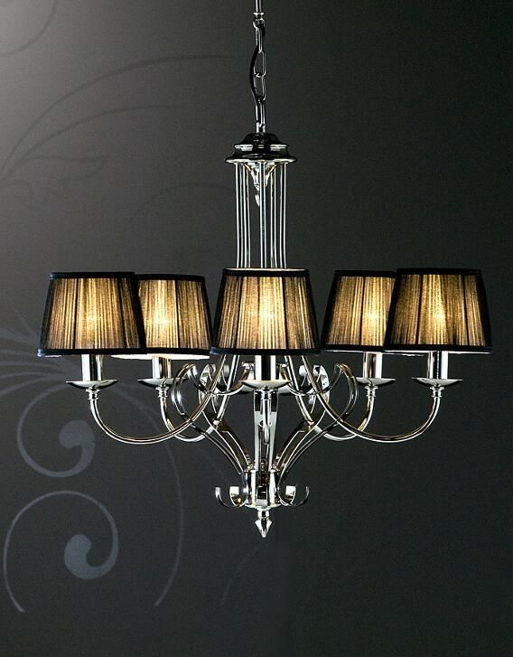 Zoya 5 Light Nickel Chandelier