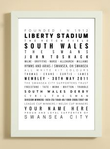 Swansea City Football Club Word Art Design Print - Words, Names And Facts Associated With Swansea City FC - In White Or Black A4 Box Frame