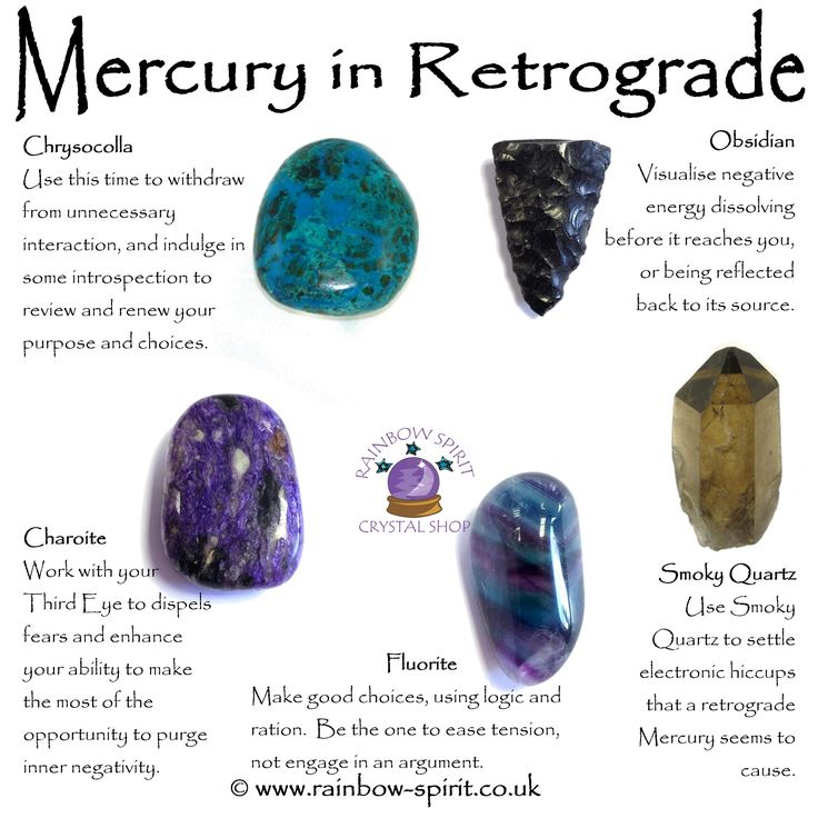 My crystal healing poster with suggestions of stones that support us while Mercury is in retrograde