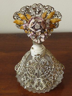 Vintage-Ormolu-Shabby-French-Country-Cottage-Chic-Perfume-Bottle-Jeweled