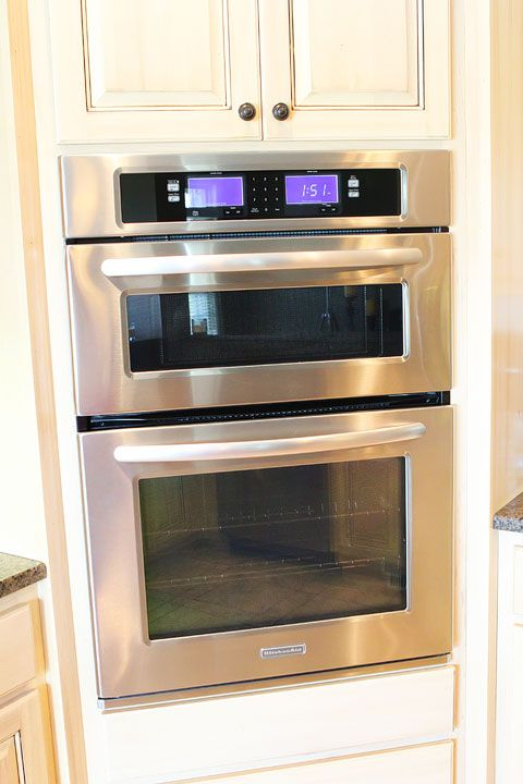 Kitchen Aid - Top oven is a convection oven/microwave combination and the bottom is a regular oven.