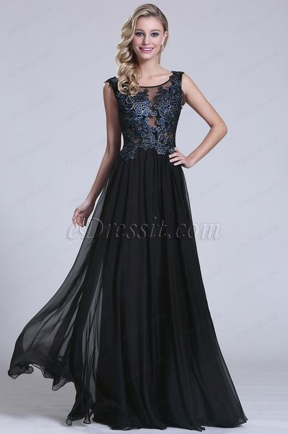 Stunning Sleeveless Lace Applique Evening Gown (C36152105)