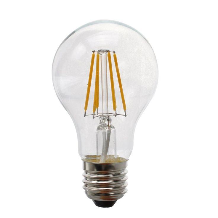 Lampadina Filamento LED 8W A60 E27 Retrò è la nuova fronitera dell'illuminazione a LED! Totalmente trasparente, i suoi led simulano l'incandescenza.