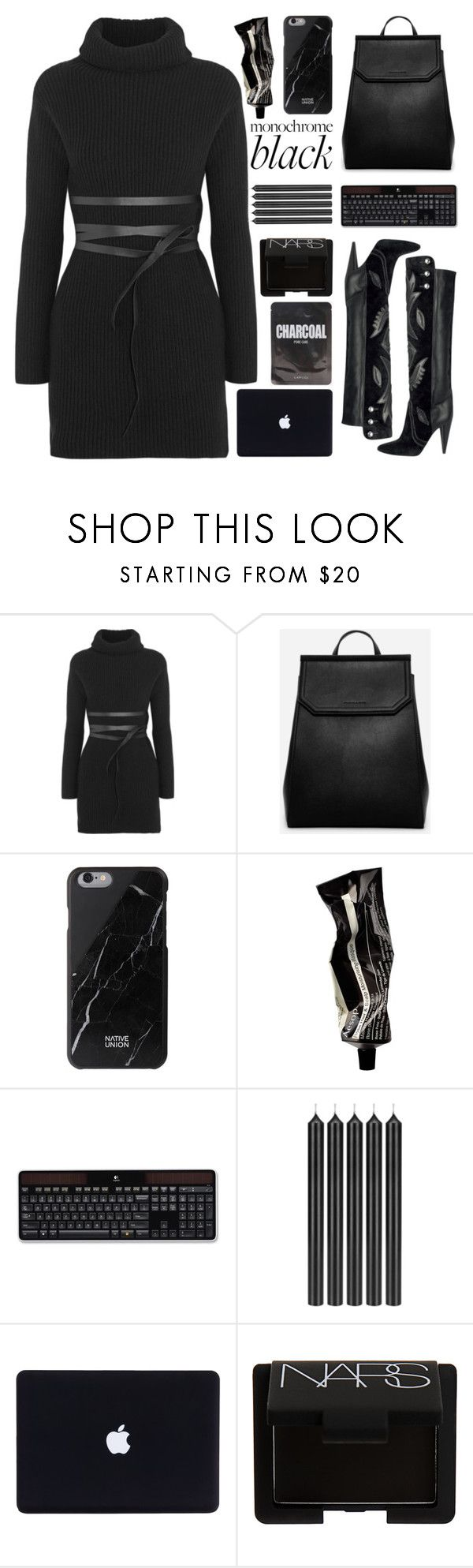 """Monochrome: All Black Everything"" by barbarela11 ❤ liked on Polyvore featuring Valentino, CHARLES & KEITH, Native Union, Aesop, Logitech, Tom Dixon and NARS Cosmetics"