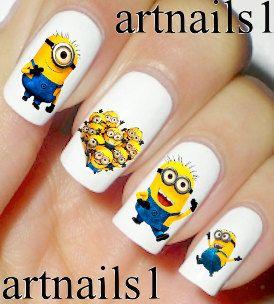 Minions Nails Nail Art Polish Manicure Heart Cosplay by artnails1