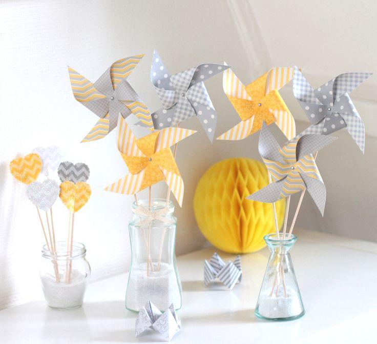 Guirlande de fanions en papier, prénom personnalisable, coloris gris et jaune, pour baptême, anniversaire, chambre d'enfant