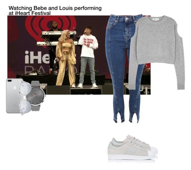 """""""Watching Bebe and Louis performing at iHeart Festival"""" by perrieaf ❤ liked on Polyvore featuring Topshop, McQ by Alexander McQueen, adidas, BOSS Black, Christian Dior, louis, bebe, backtoyou and iHeartRadioMusicFestival"""