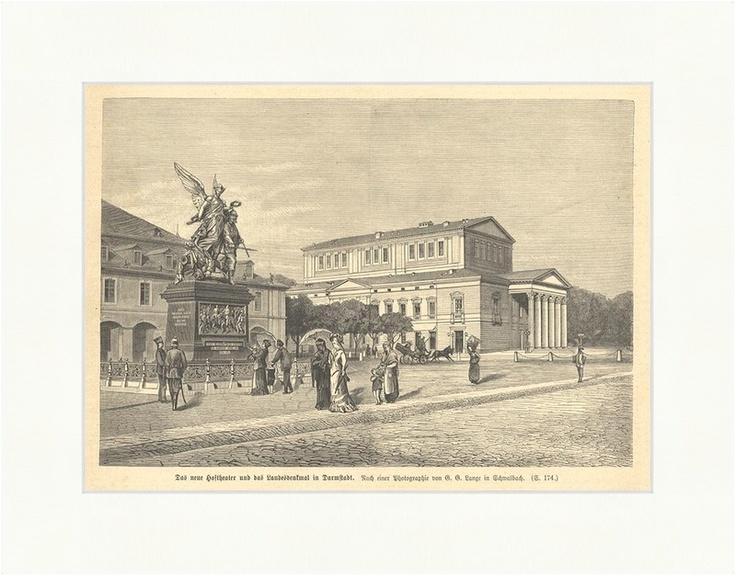 Das neue Hoftheater in Darmstadt Holzstich Deutsches Reich Landesdenkmal E 1553 - Billerantik