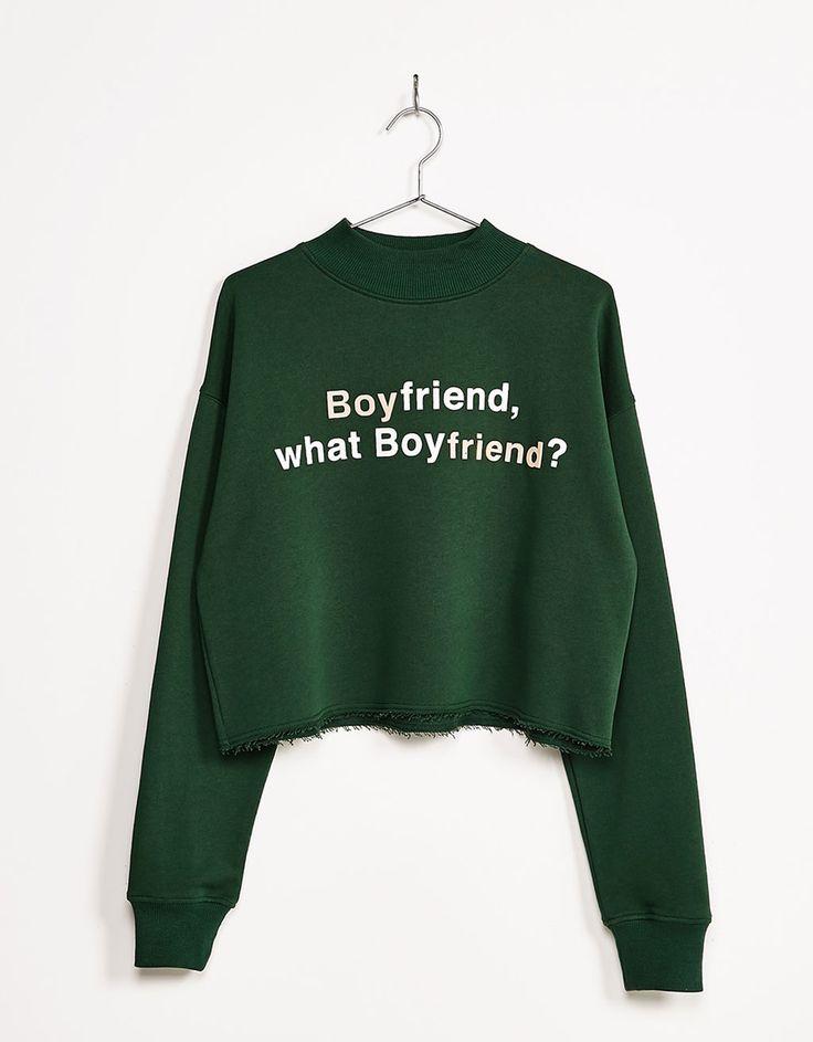Methacrylate appliqués slogan sweatshirt - Sweatshirts - Bershka Ukraine