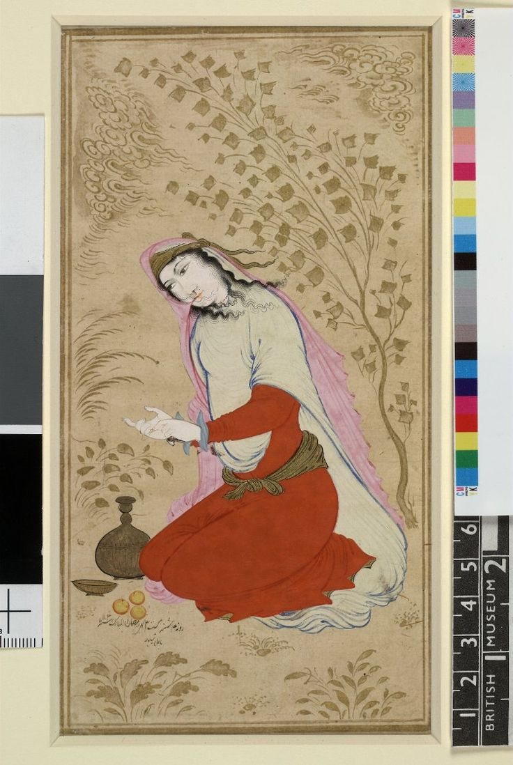 Kneeling woman counting; single-page painting on a detached album folio. Portrait of a kneeling woman counting on her fingers, possibly in meditation. The beautiful gold scarf around her head and the sash around her waist show that she is a lady of some high noble lineage. A goblet and a cup with a few fruits are placed beside her. Inscribed and dated. Opaque watercolour, ink and gold on paper. Less Producer nameMade by: Mu'in Musavvir  Isfahan School Safavid dynasty Date11 December 1673