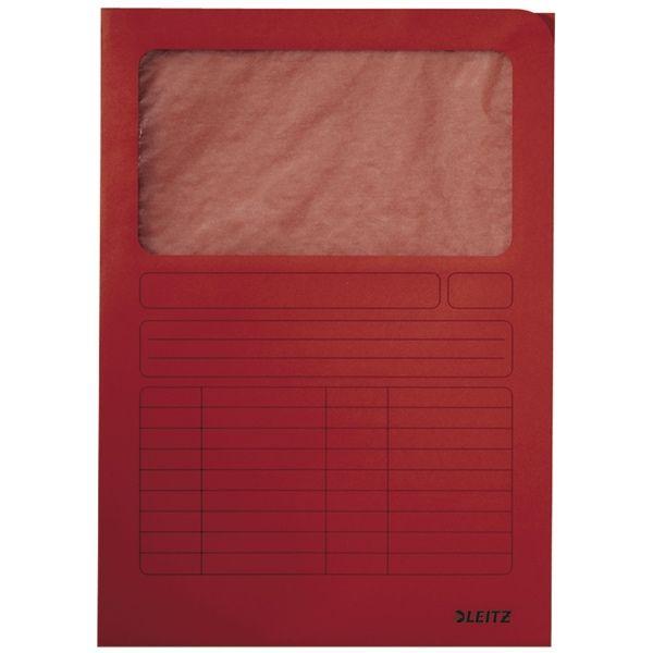 Leitz venstermap rood A4  |  De rode Leitz venstermap is gemaakt van 160 grams karton. Deze kartonnen L-map met venster is ook te gebruiken als correspondentie- en circulatiemap. Het venster is gemaakt van perkamentpapier waardoor de inhoud direct herkenbaar is. Leitz venstermappen hebben een opening aan de boven- en rechterzijde.
