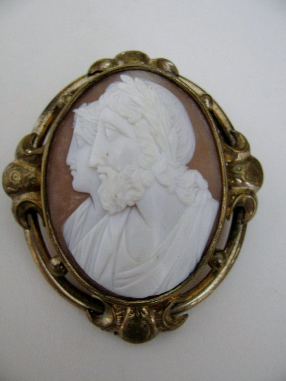 Victorian Cameo Zeus and Hera Carved Shell by victoriansentiments