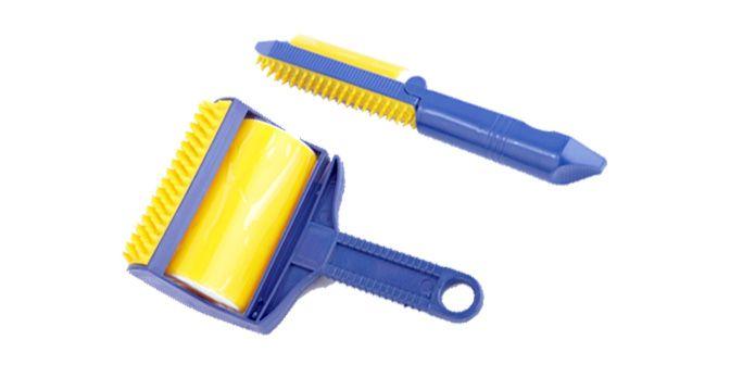 SWEEP & STICK  Rullo levapelucchi in silicone, non si consuma mai. Riutilizzabile: si lava in acqua corrente. Con spazzola in gomma applicata per la rimozione di grumoli di lana o di polvere dai tessuti. In dotazione anche il modello da viaggio.