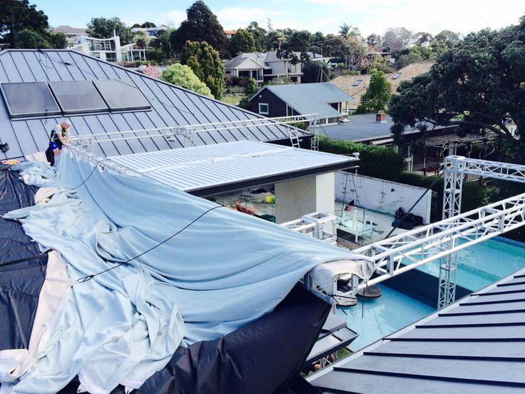 Rigging a platinum canopy over truss ...