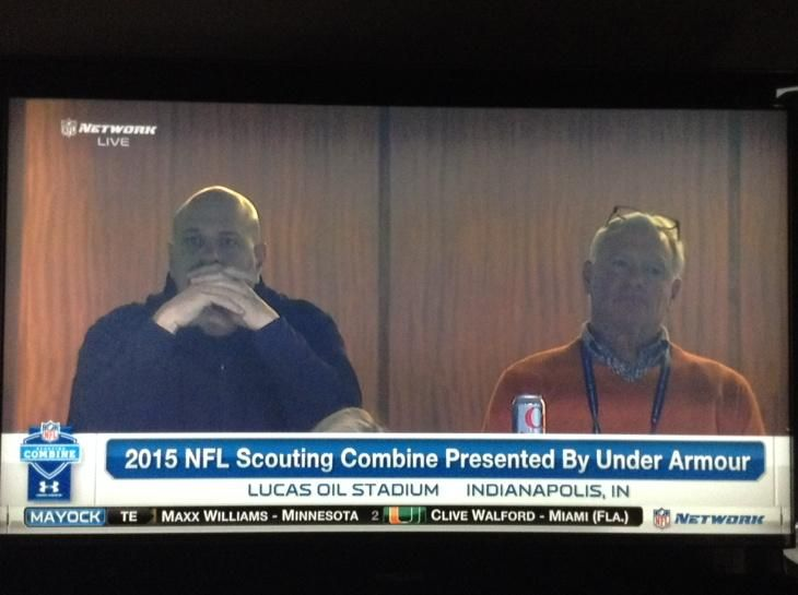 Mike Pettine watching #NFLCombine next to #Browns owner Jimmy Haslam
