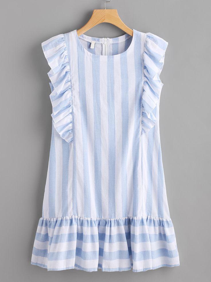 Vestido de rayas con ribete de volantes -Spanish SheIn(Sheinside)