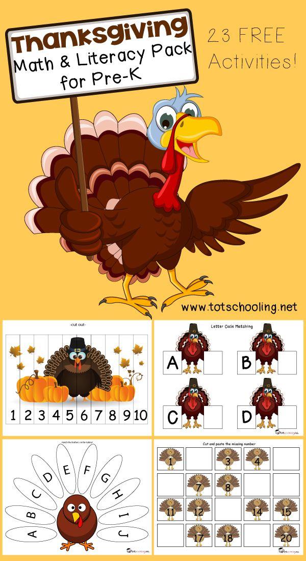 Free Thanksgiving Math & Literacy Pack for PreK