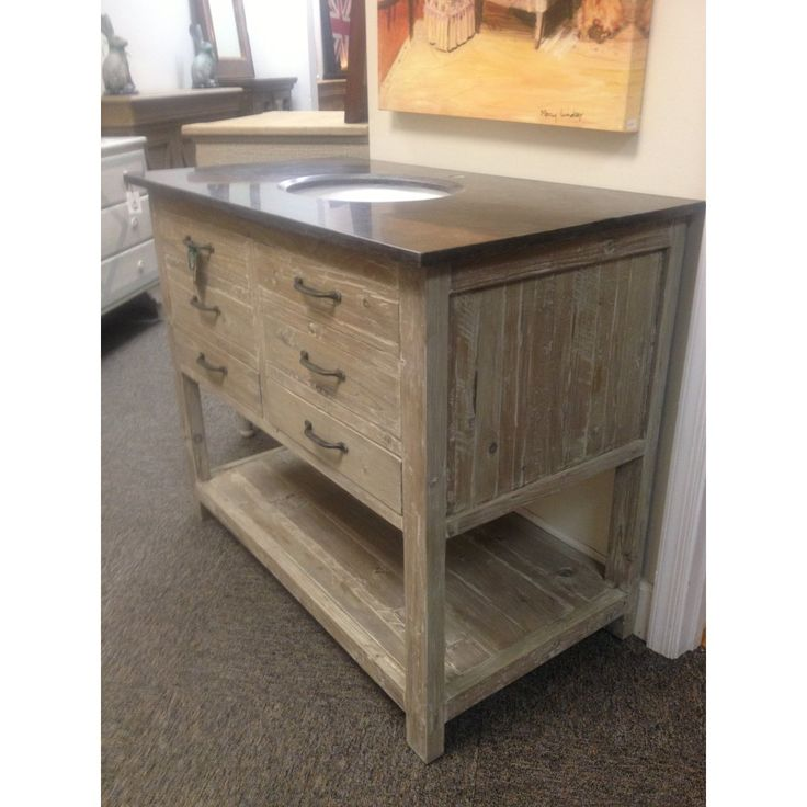 Unfinished Bathroom Vanity In Reclaimed Wood Rectangle Cabinet With Six Drawers And Under Open Shelf Also Incorporates Black Marble Top Single Round Sink Undermount, Rustic Bathroom Vanity Ideas Of The Austounding Design: Bathroom, Furniture
