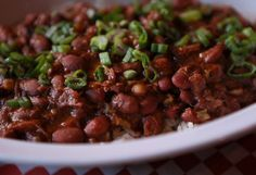 RED BEANS and RICE  Highway 61 Roadhouse Restaurant Recipe   1 pound dried small red beans  1 large ham shank  2 tablespoons olive oil  ...