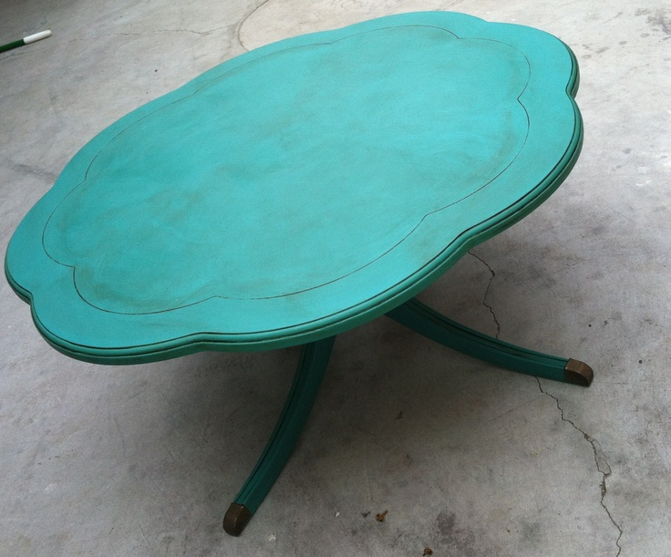 """Aqua / Teal Coffee Table - Annie Sloan """"Florence"""" chalk paint with Annie Sloan dark wax. - FOR SALE NOW!!!"""