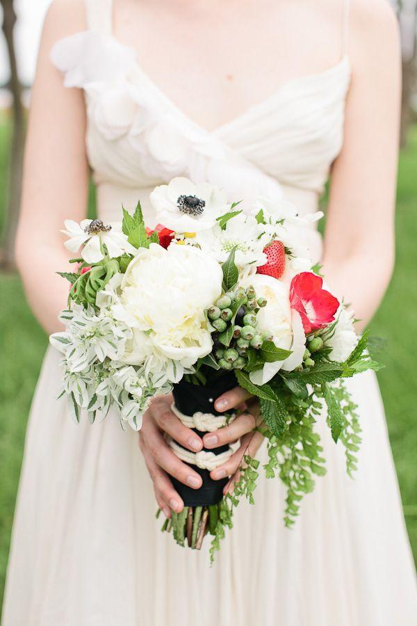Nautical Waterfront Wedding, wedding dress, spaghetti strap dress, bouquet, red, white, black, green