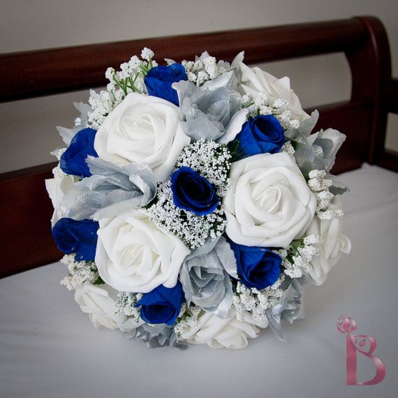 Grand Royal Style Silk Wedding Bridal Bouquet In Royal Blue And Silver