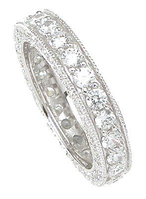Amazon.com: Vintage Style Sterling Silver Wedding Band Eternity Anniversary Ring: LaRaso & Co: Jewelry To wear for work