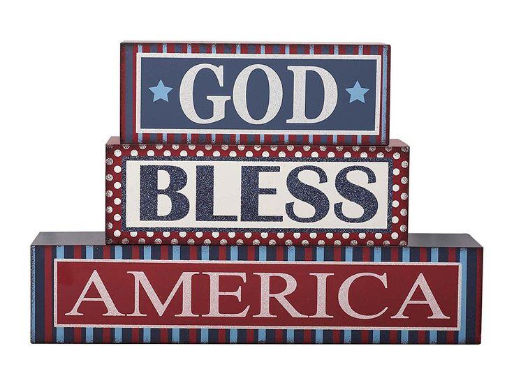 "Transpac God Bless America Blocks, 13.5"" x 9"" x 3"""