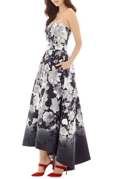 Alfred Sung Floral Print Strapless Sateen High/Low Dress available at #Nordstrom