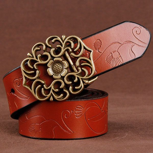 Women Ladies 100% Second Layer Belt Cow Genuine Leather Flower Strap Retro Lotus Leaf Buckle Belts at Banggood women fashion accessories