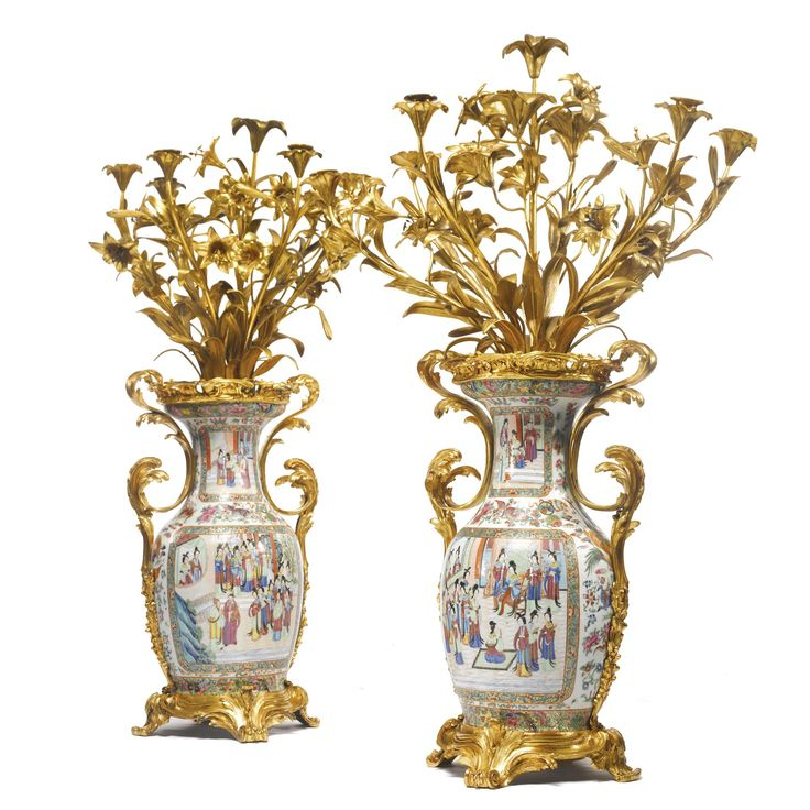 A Pair Of Napoleon III Gilt-bronze Mounted Chinese Export
