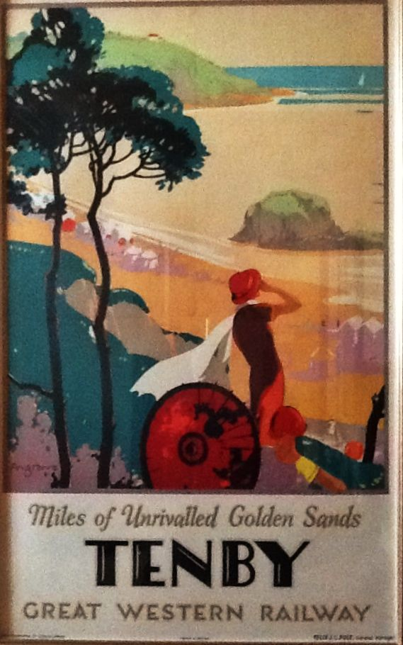 """Great Western Railway travel poster by Bruce Angrave.  """"Miles of Unrivalled Golden Sands.    Tenby."""""""