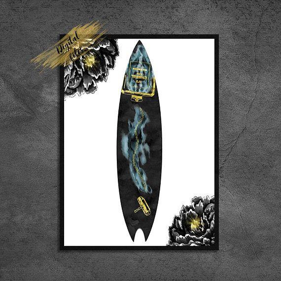 Teal Surfboard Fashion Print File Designer Perfume Bottle Surf