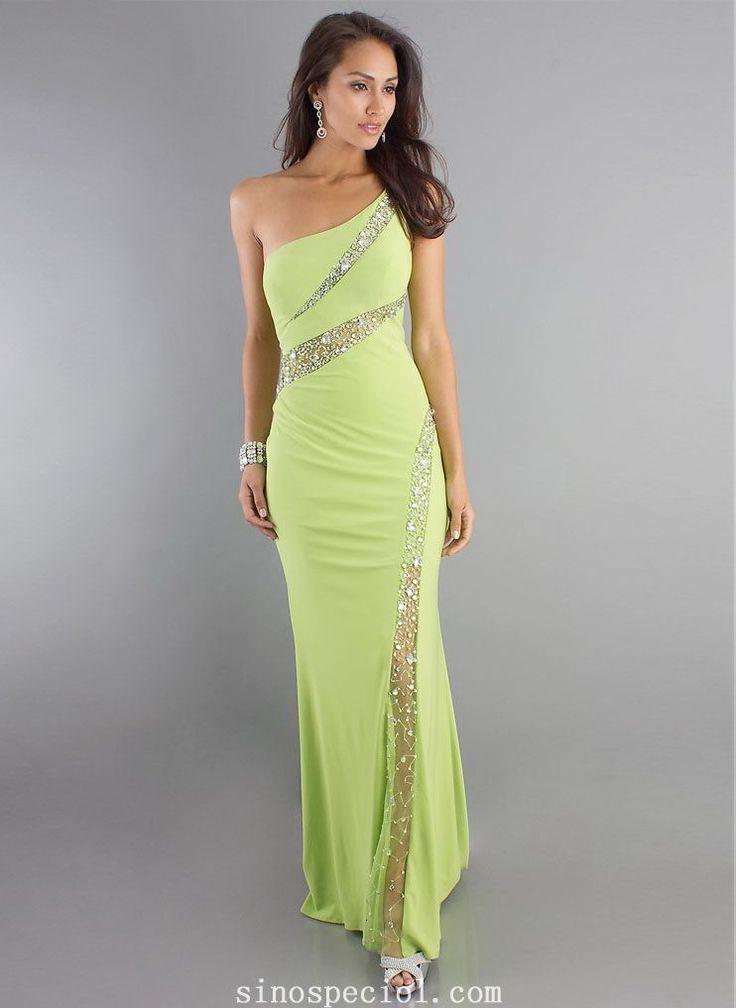 Chic Green Sheath/Column One-shoulder Sweep Train Rhinestones Evening Dress