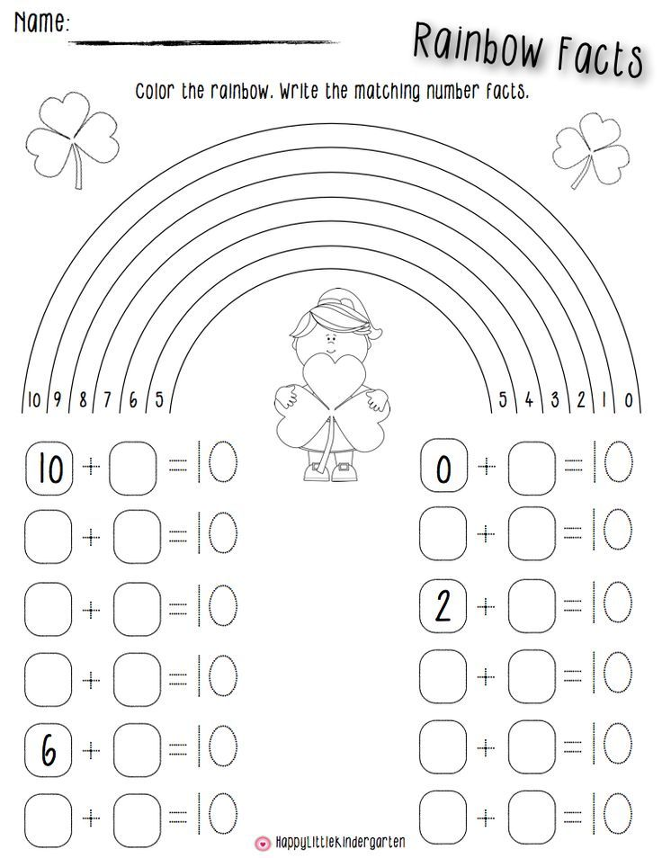St. Patrick's Day fun for your wee little one! Rainbow math addition facts. Students color lightly and find different ways to make 10 on a rainbow. My students LOVE this activity!